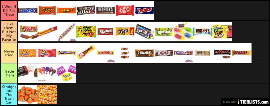My Halloween Candy Tier List Tier List , TierLists.com
